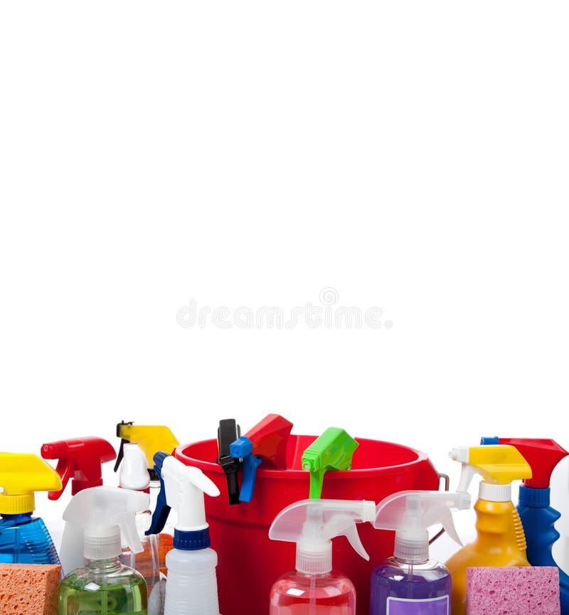 Cleaningtillförsel på white med kopieringsavstånd arkivbild