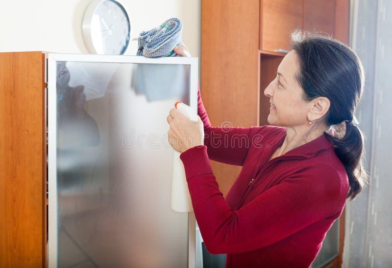 Cleaninig de femme à la maison image stock