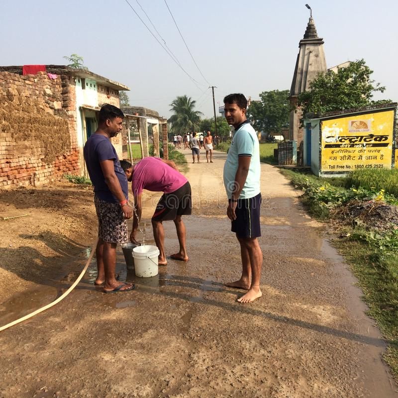 Cleanliness campaigners in a Indian village. An cleanliness performance is doing by villagers of Mahadev simeriya, Jamui, Bihar,India royalty free stock image