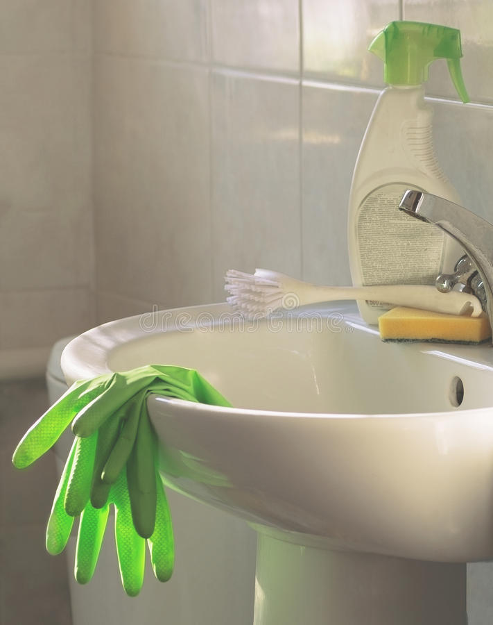 Cleanliness, Cleaning products and tools on the sink. Cleaning, Cleanliness, Cleaning products and tools on the sink royalty free stock photo