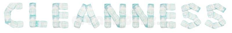 Cleanness слова клал вне пеленки младенца на белую предпосылку, изолят, салфетку, надпись стоковое изображение