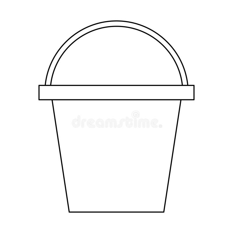 Cleanning housekeeping water bucket cartoon in black and white vector illustration