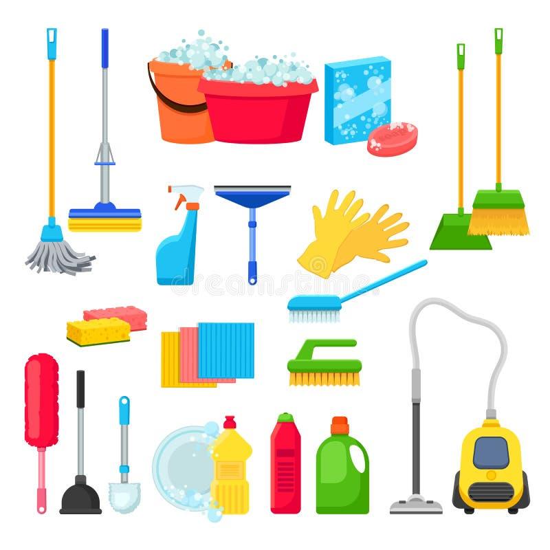 Cleansers и тензид в бутылках, инструментах чистки дома и поставках для домашнего хозяйства Изолированные вектором элементы дизай иллюстрация штока