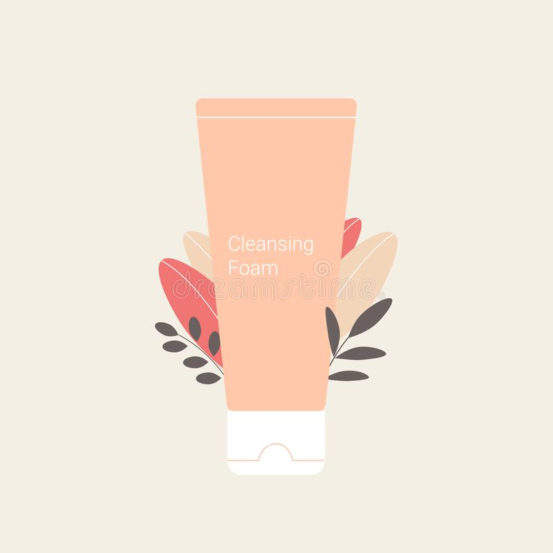 Cleansing foam with plant leaves. Skin care and cosmetics design. Trendy flat style. Vector illustration royalty free illustration