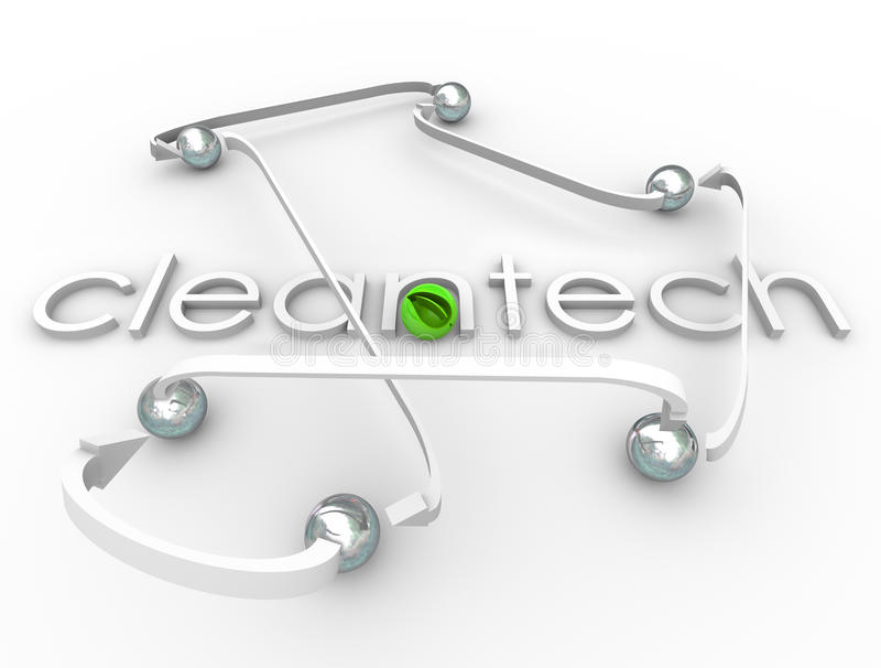Cleantech Word Renewable Power Energy Resource Business. Cleantech word in 3d white letters surrounded by arrows and spheres and a green leaf ball symbolizing royalty free illustration