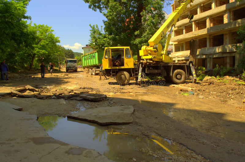 Cleanup аfter flooding Varna Bulgaria June 19. These are the consequences of record rain that poured over the city of Varna on June 19th, 2014.tidal wave of stock images