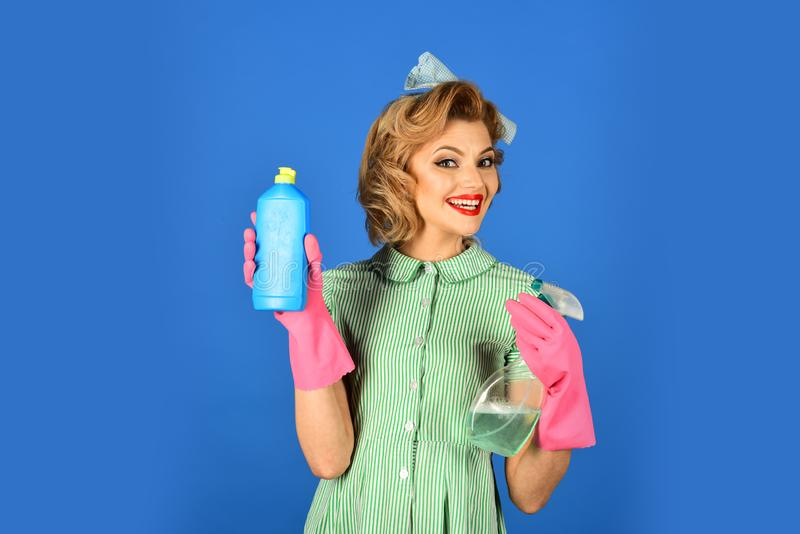 Cleanup, cleaning services, wife, gender. stock image
