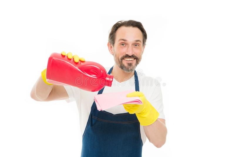 Cleanup concept. Get rid of stains. Smart cleaning solution. Cleaning service and household duty. Man in rubber gloves royalty free stock image