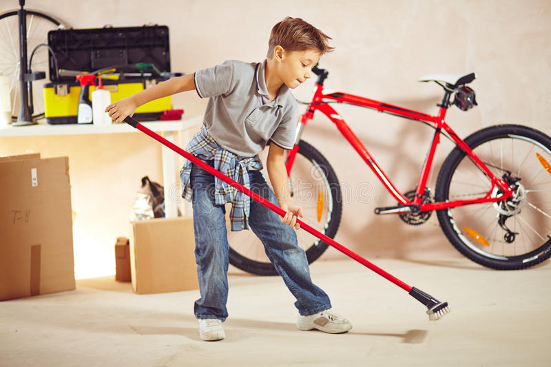Cleanup in garage royalty free stock images