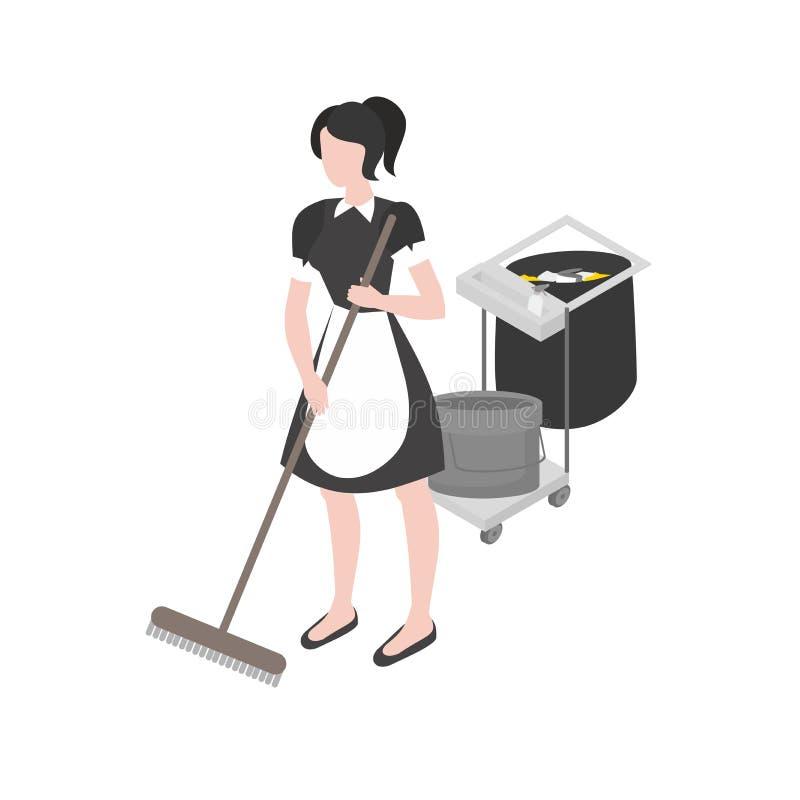 Cleanup i housekeeping set Isometric gosposia w mundurze Cleaning firmy personelu zajęcie Sprzątanie i gospodarstwo domowe royalty ilustracja