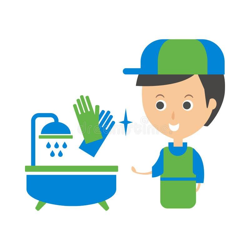 Cleanup Service Worker ed illustrazione di Clean Bathroom Tub, Cleaning Company Infographic royalty illustrazione gratis