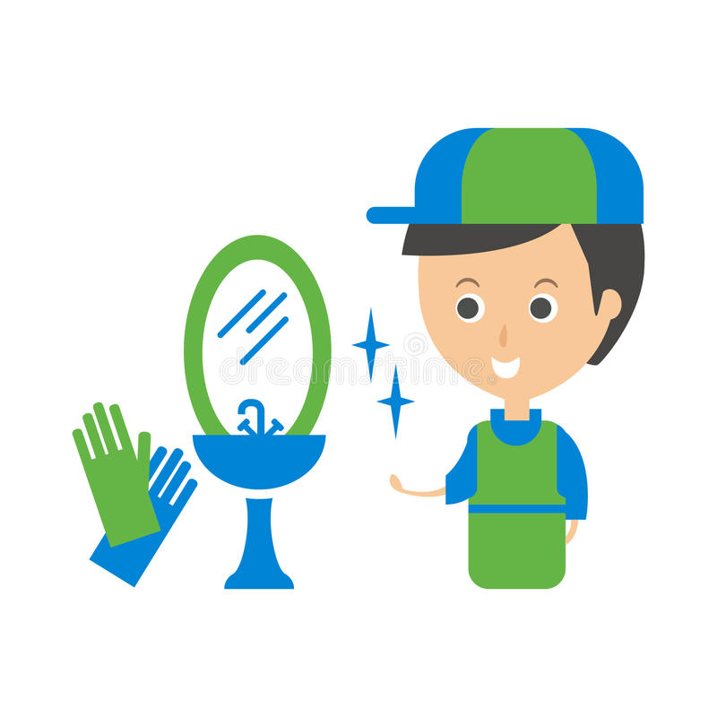 Cleanup Service Worker et illustration de Clean Bathroom Tap, Cleaning Company Infographic illustration stock