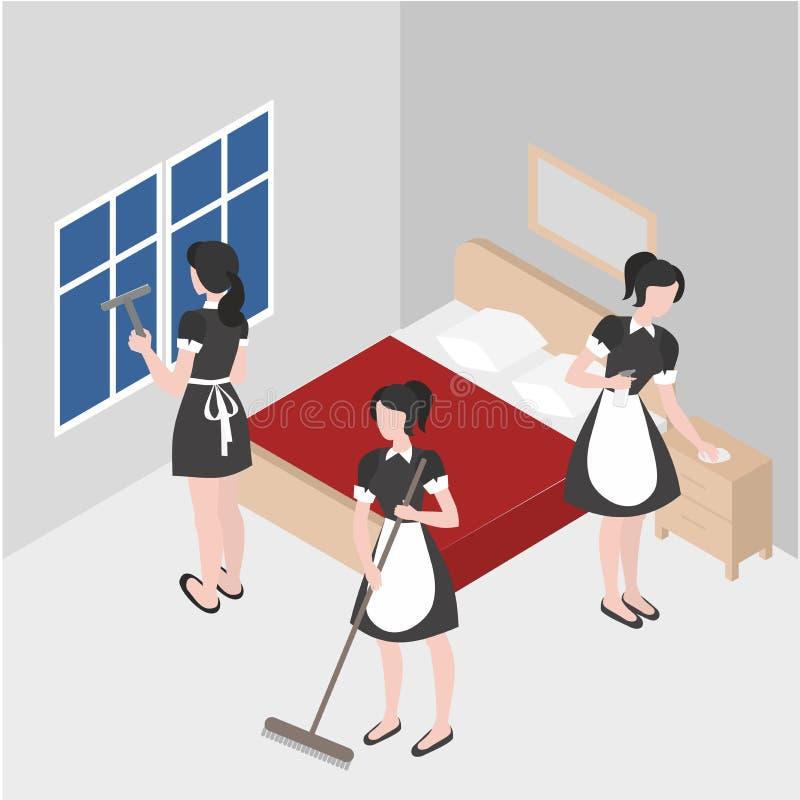 Cleanup w pokoju hotelowym Isometric gosposia w mundurze Cleaning firmy personelu pracy Sprzątanie i gospodarstwo domowe ilustracji