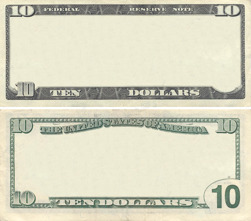 Clear 10 dollar banknote pattern. For design purposes stock photos