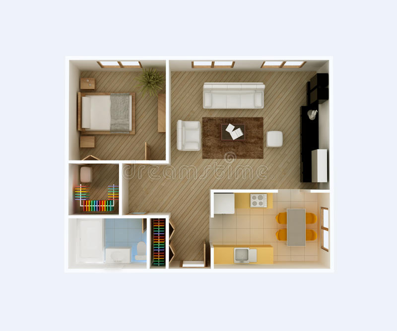 Apartment floor plan top view stock illustration for Apartment stock plans