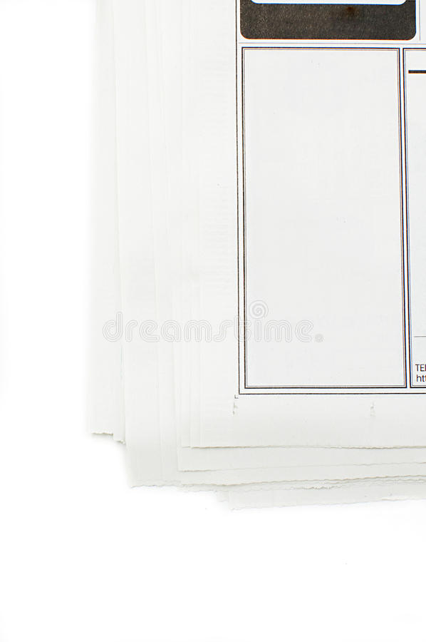 Clear advertisement frame in a newspaper stock images