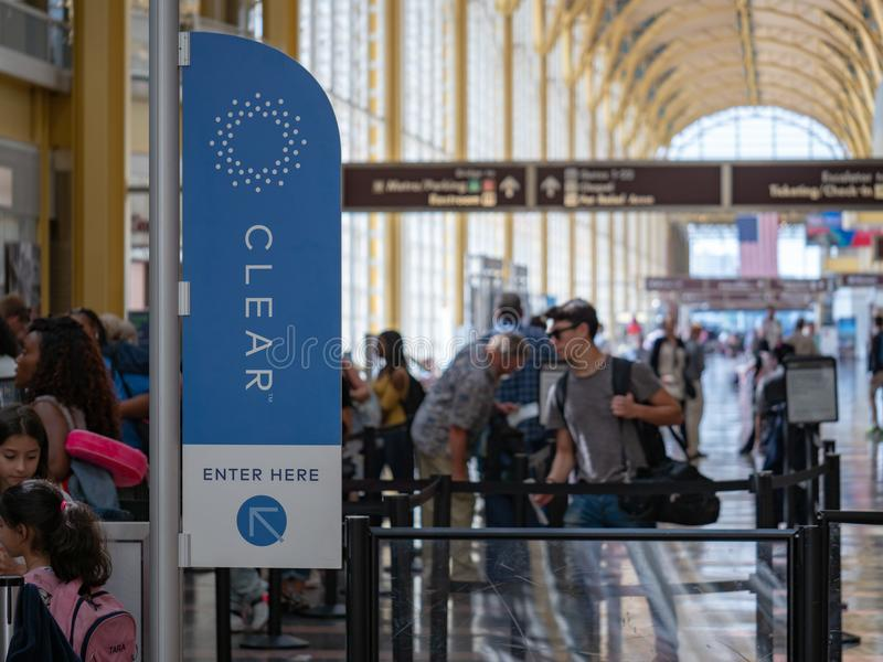 CLEAR, airport line shortcut service, line at TSA security checkpoint at Reagan National Airport royalty free stock photo