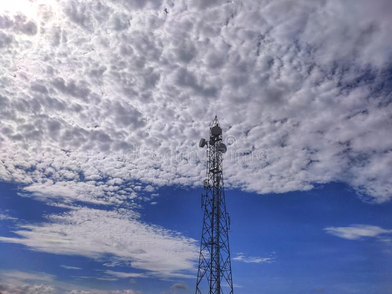 Clear Beautiful blue sky with clouds. Tower, telecom royalty free stock images
