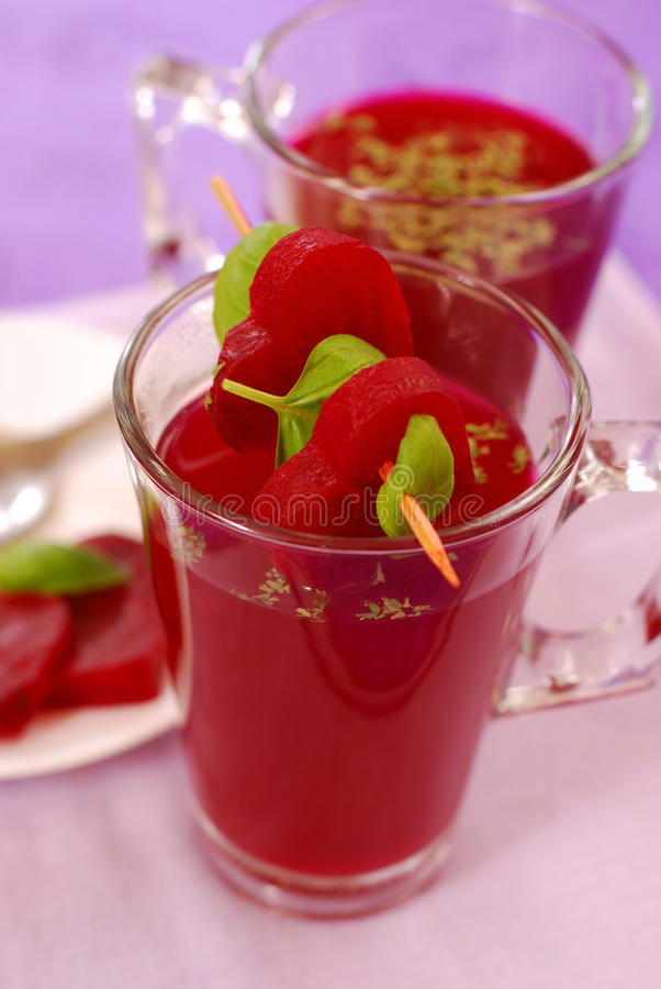 Free Clear Beet Soup In Glass Royalty Free Stock Photo - 18217475