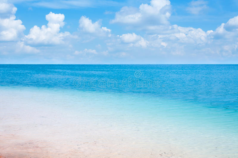 Clear Blue Sea With Beautiful Sky Stock Photography