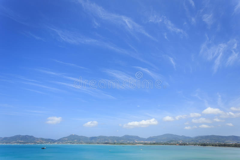 Clear blue sky over the sea. In Phuket, Thailand royalty free stock photography