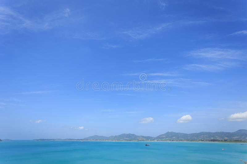 Clear blue sky over the sea. In Phuket, Thailand stock photo