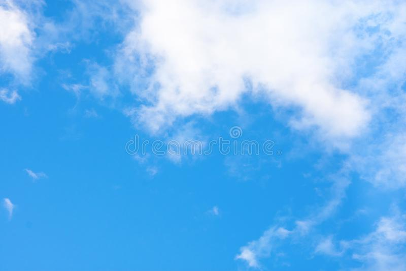 Clear Blue Sky with Small Fluffy Transparent White Clouds in the Corner. Purity Heaven Meditation Concept. Inspirational Overlay royalty free stock image