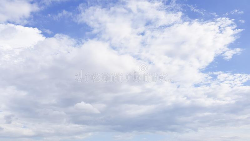 Clear blue sky with white cloud background. Clearing day and Good weather in the morning.  stock image