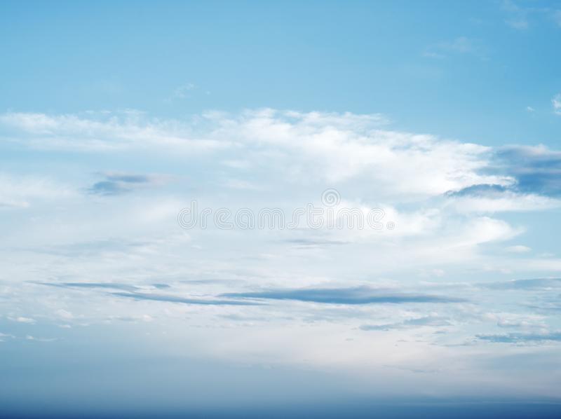 Clear blue sky and white clouds stock images