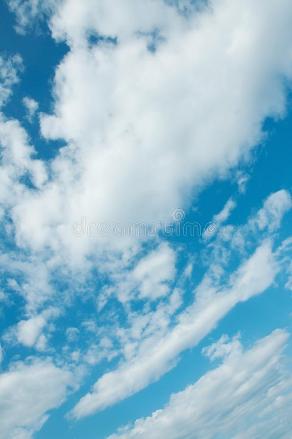 Clear Blue sky with white clouds stock images