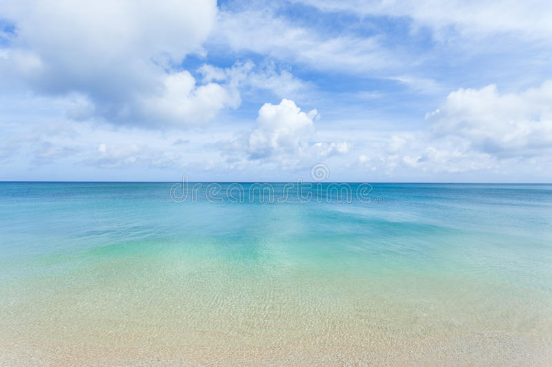 Clear Blue Water, Tropical Beach And Horizon Royalty Free Stock Photography