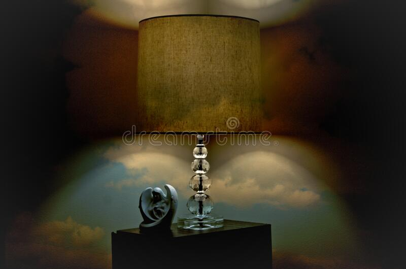 Clear and Brown Table Lamp stock photography