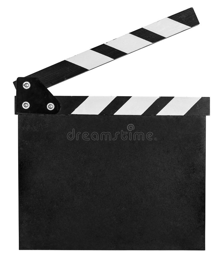 Clear clap board isolated on white. With clipping path included stock photography