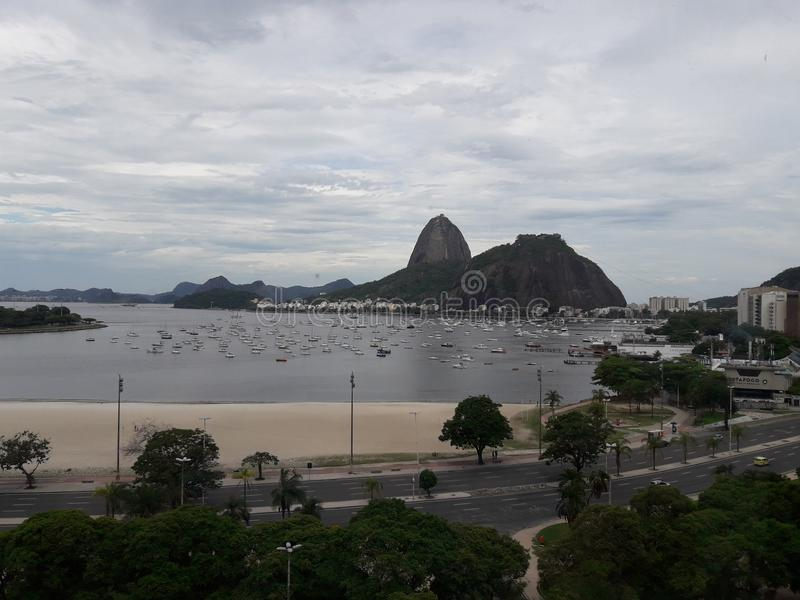 Clear cloud view of Pao de Acucar from Botafogo Shopping royalty free stock photos