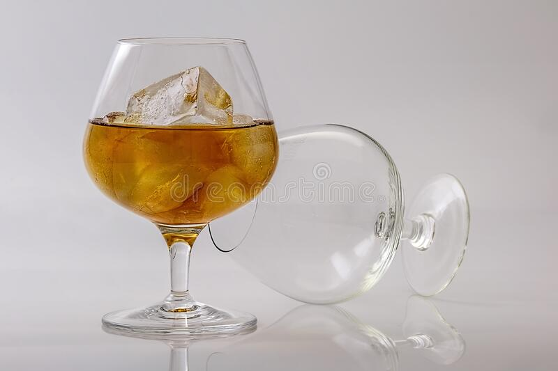 2 Clear Cognac Glass royalty free stock photo