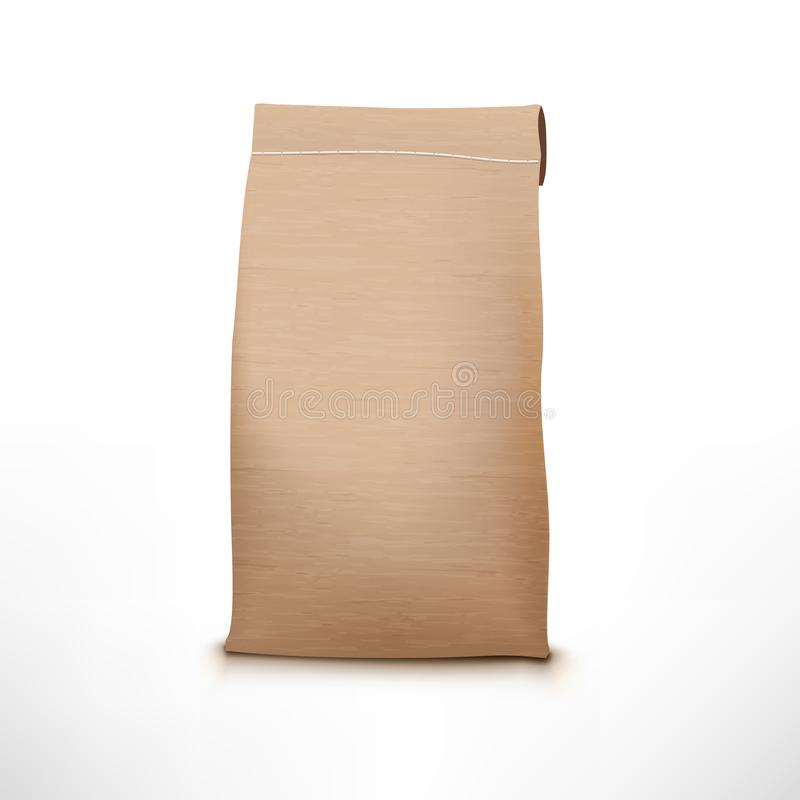 Clear Craft Paper Bag Pack Isolated On White royalty free illustration