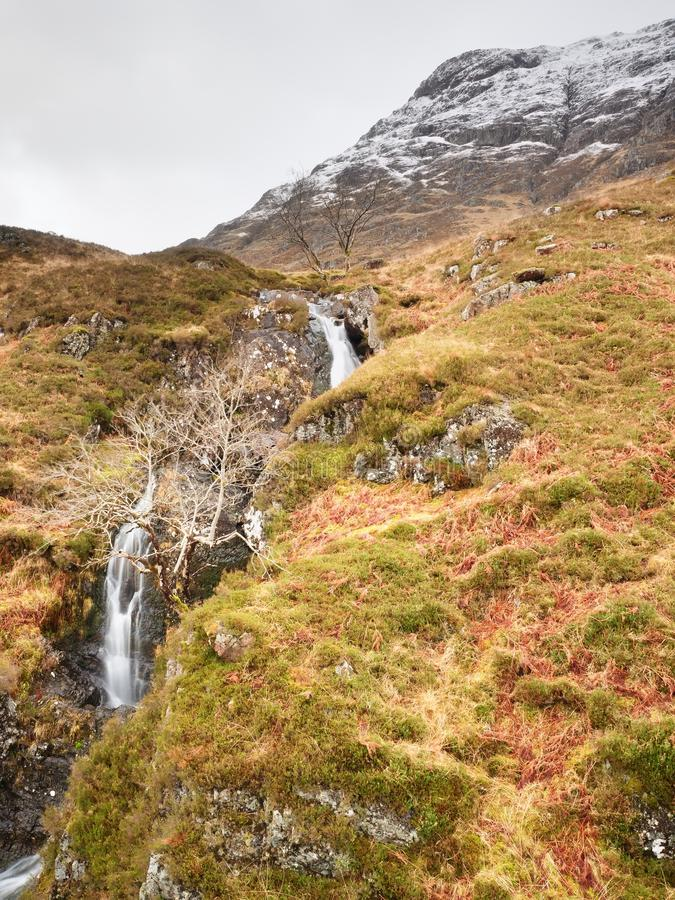 Clear creek stream water flowing over granite stones. Snowy mountains in heavy clouds. In background. Dry grass and heather bushes on stream banks royalty free stock photos