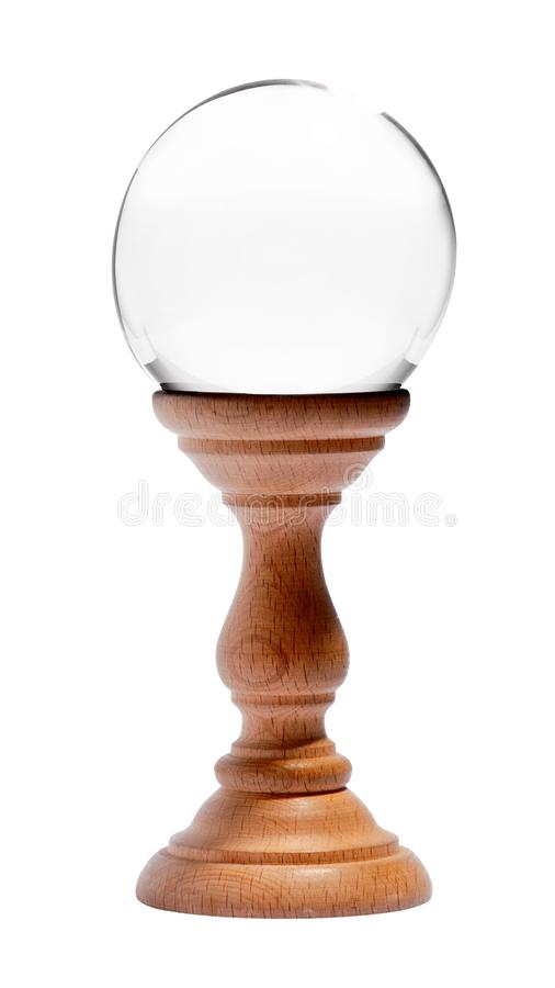 Clear crystal orb or sphere for fortunetelling stock images