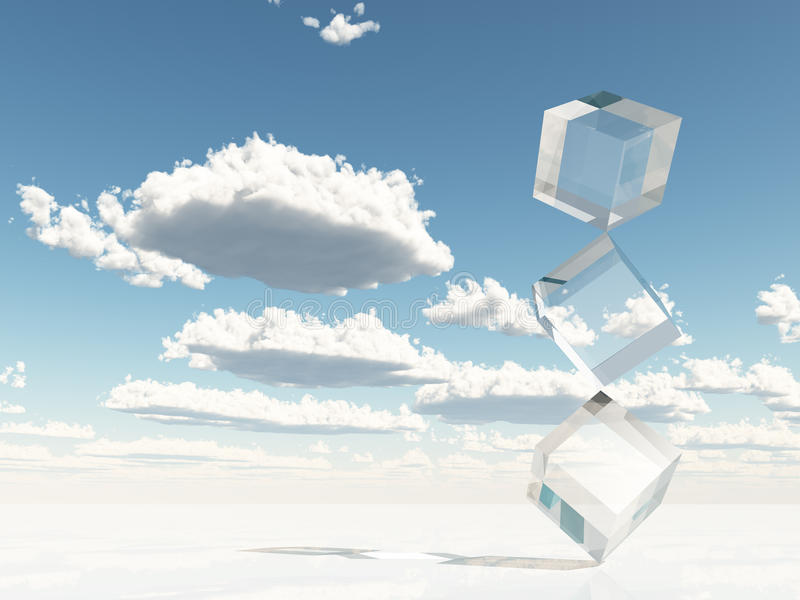 Clear Cubes Stacked on Corners royalty free illustration
