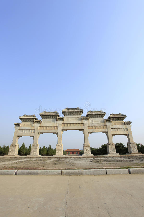Clear dongling stone archway. Clear dongling stone memorial arch, beautiful marble stock photos