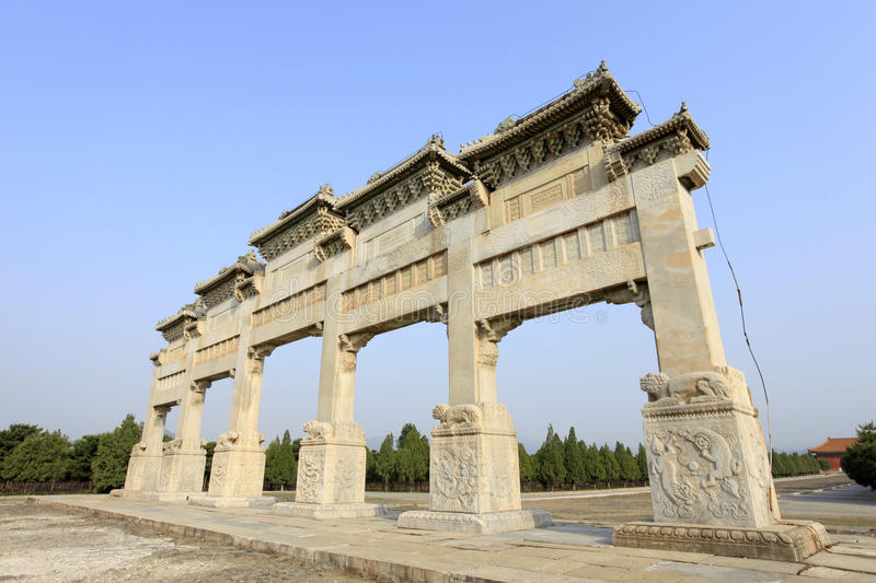 Clear dongling stone archway. Clear dongling stone memorial arch, beautiful marble royalty free stock images