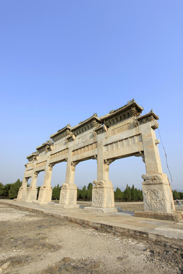Clear dongling stone archway. Clear dongling stone memorial arch, beautiful marble stock image