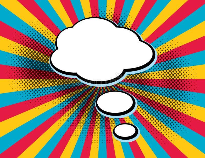 Clear empty boom comic text speech bubble Pop Art Style on orange sun rays background. Retro comic empty speech bubbles. vector illustration