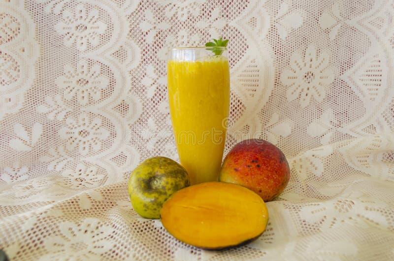 Fruit Juice Of mango and White Sapote stock photo