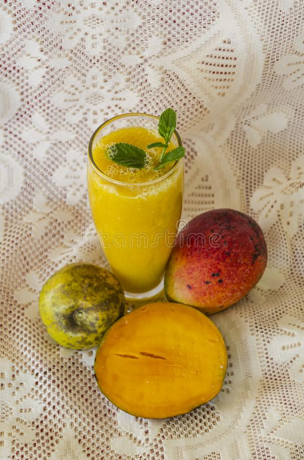 Fruit Juice Of mango and White Sapote Top View stock images