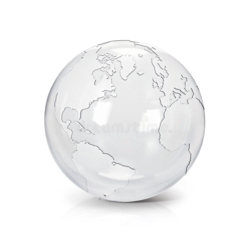 Clear glass globe 3D illustration North and South America map vector illustration