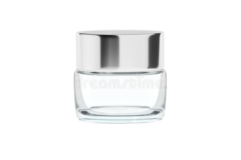 Clear glass jar with chrome glossy plastic lid 3D rendering stock photo