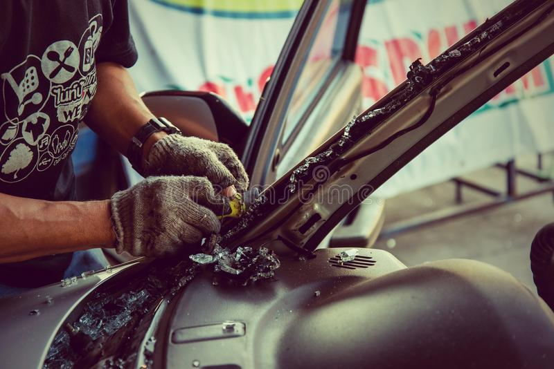 It is clear glass repair or auto accident. stock photo