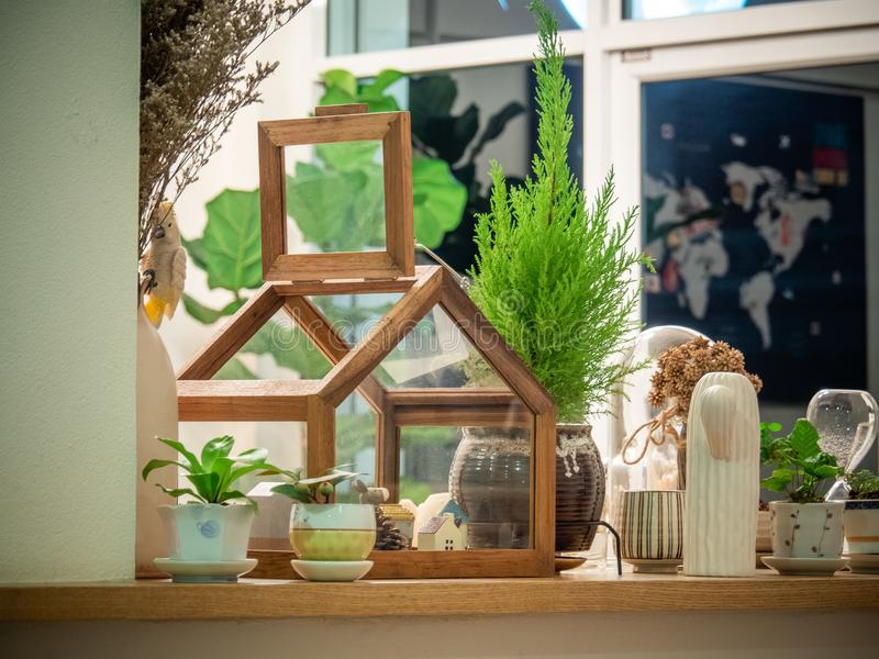 Clear Glass Terrarium With Brown Frame stock images