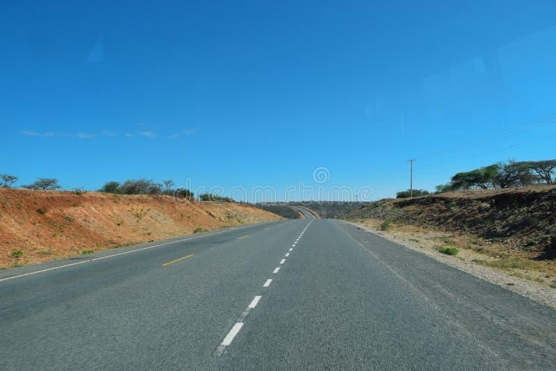 Road trip to Arusha Town, Tanzania. A clear highway on our way to Arusha Town, Tanzania stock photo
